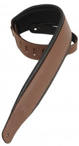 "Levys PM32BRN 2 1/2"" garment leather guitar strap with foam padding"