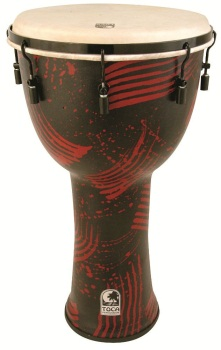 "Toca SFDMX14ARB 14"" Freestyle Mechanically Tuned Djembes w/ Bag - Abstract Red"